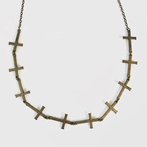 Vintage brass cross chain necklace